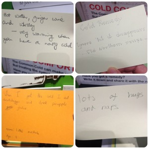 Cold remedies suggested by museum visitors